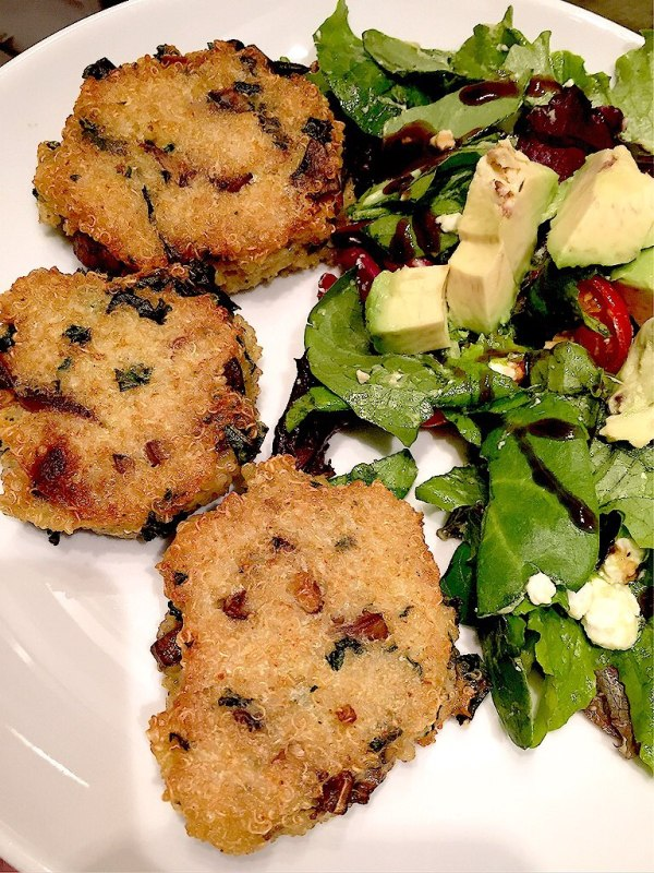 Quinoa patties and side salad